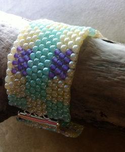 Pastel Wide Band Seed Bead Beadwoven Bracelet