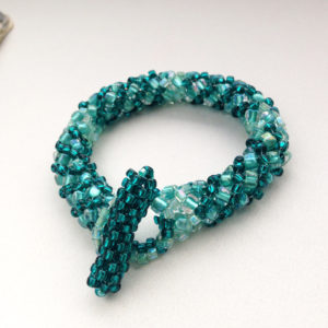 Green Beadwoven Seed Bead Bracelet