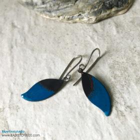Small Blue Leaf Earrings