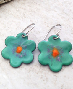 Green Flower Enameled Copper Earrings