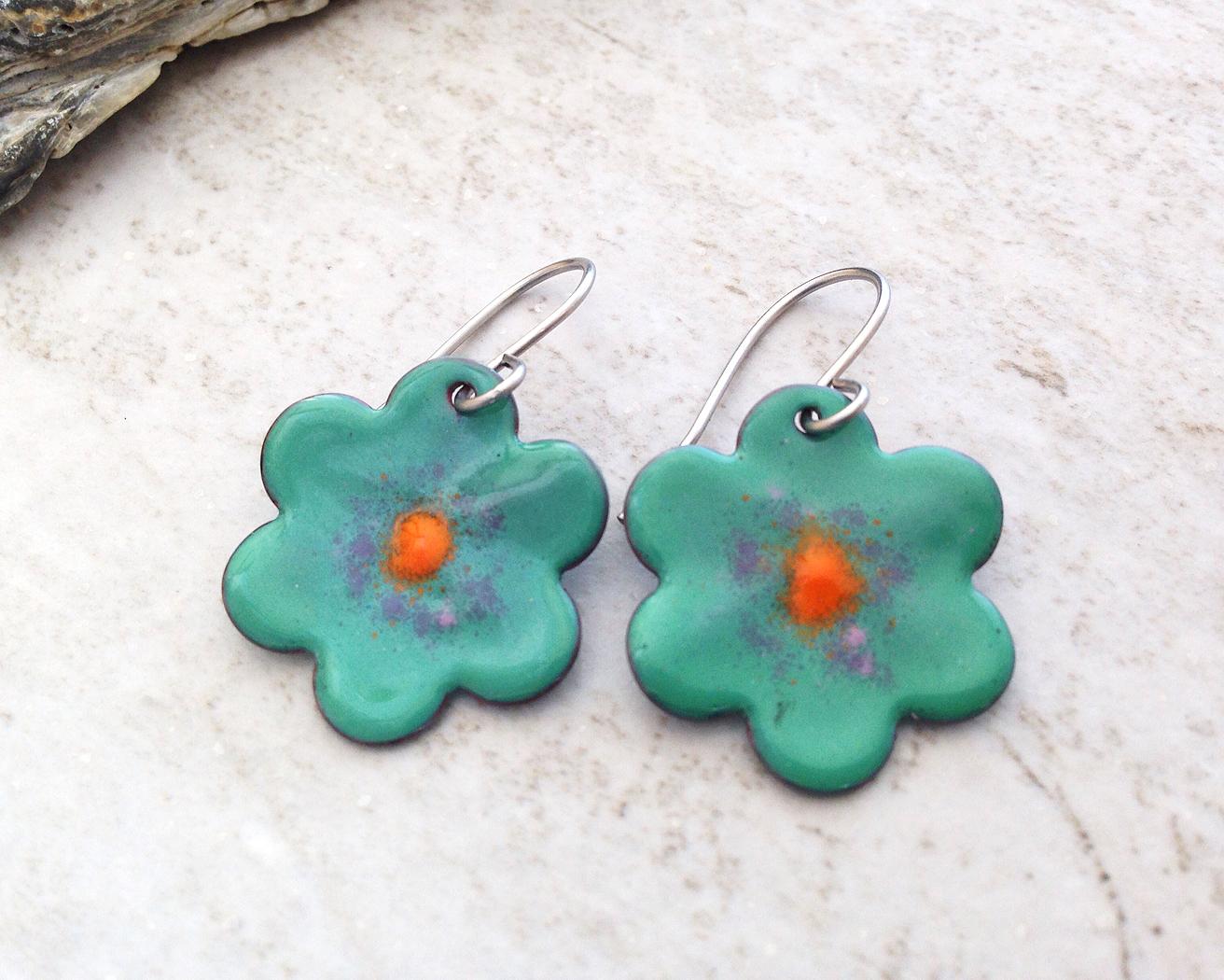 Green Flower Enameled Copper Earrings - Basket of Blue