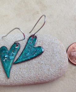 Green Heart Enamel Earrings