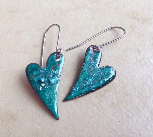 Green Heart Enamel Earrings
