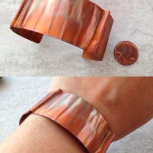 Copper Cuff Bracelet with Wrinkle Design