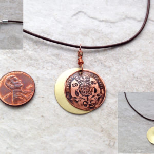 Copper and Brass Coin Charm Necklace