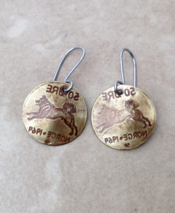 Brass Coin Elkhound Earrings - Norway Jewelry