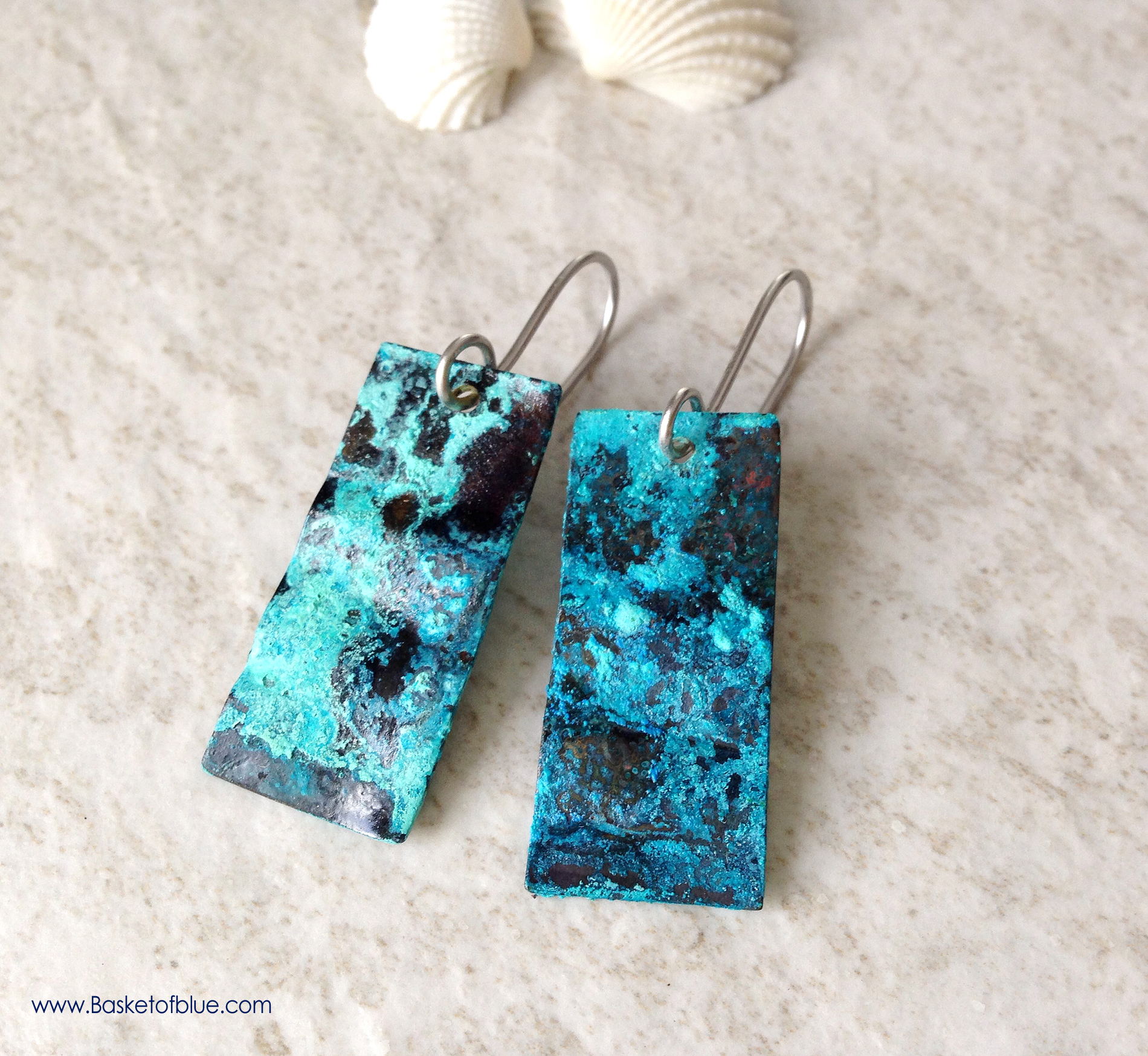blue patina earrings rustic copper natural patina