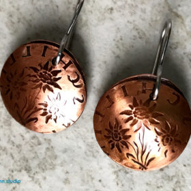 Copper coin Edelweiss Earrings