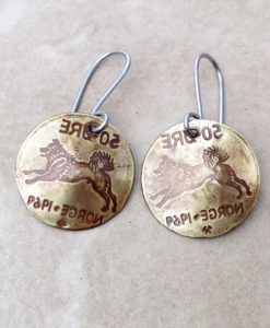 Brass Norway Elkhound Coin Earrinngs