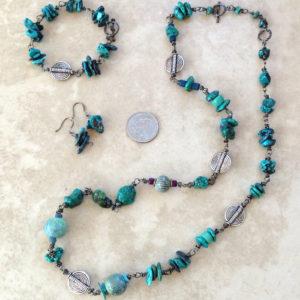 Long turquoise enamel bead necklace