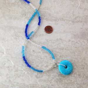 Blue Turquoise Donut Pendant Necklace Set