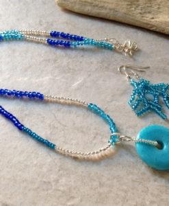 Blue Turquoise Donut Pendant Necklace Set