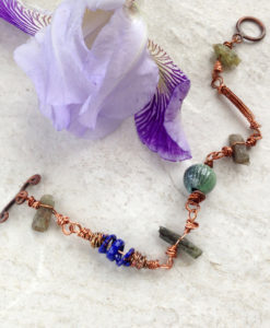 Copper Kyanite Enamel Bracelet