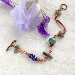 Copper Kyanite Enamel Bracelet