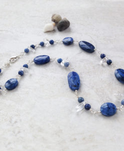 Blue Dumortierite Stone Bead Necklace