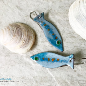 Blue enamel fish earrings