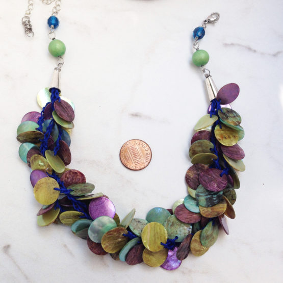 Green Mussel Shell Disc Hemp Multi strand Necklace