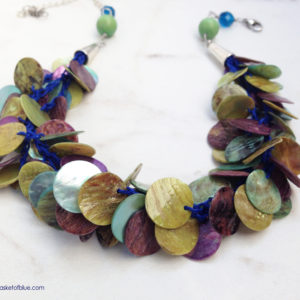 Green Mussel Shell Disc Hemp Multi strand Necklace