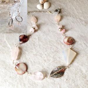 Pink Rose Quartz Necklace Set
