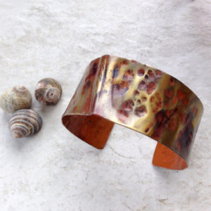 Rustic Folded Copper Cuff Bracelet