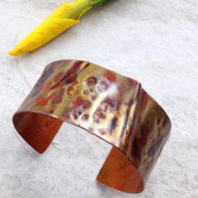 Rustic Folded Copper Cuff Bracelet
