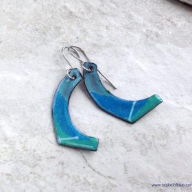 Blue Paddle Stripe Enamel Earrings