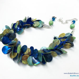 Blue Green Mussel Shell Multi Strand Necklace