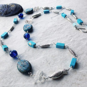 Blue Sky Jasper Long Blue Beach Necklace