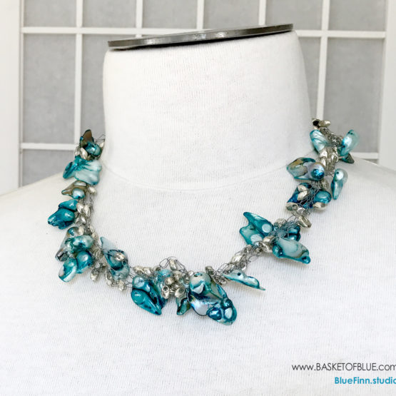 Blue Three Strand Baroque Pearl Necklace