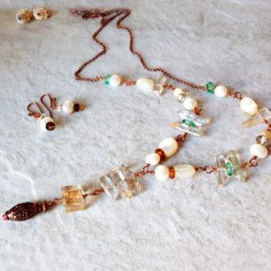 Long Pearl and copper Dangle Quartz Necklace