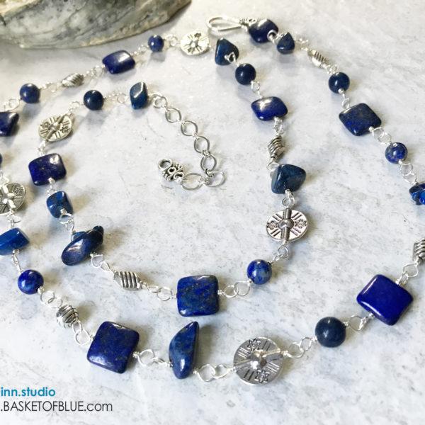 Denim lapis pewter blue long necklace