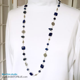 Denim lapis blue long necklace