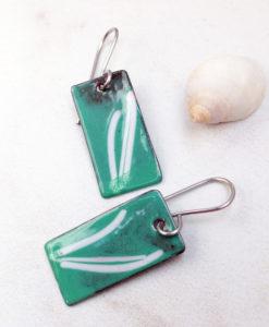 Mint Green White Lines Geometric Earrings