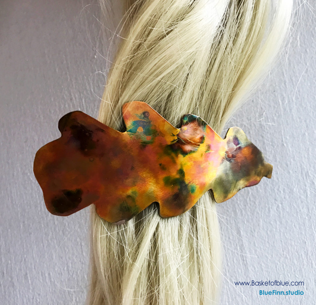 Oak Leaf Barrette - Flamed Copper