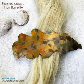 Copper Oak Leaf Barrette Hair Clip