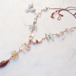 White Pearl Dangle Quartz Tassel Copper Long Necklace