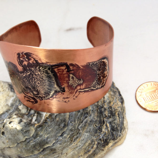 Silver and Copper Torch Fired Cuff Bracelet