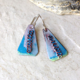 Blue Enamel Triangle Wire Swirl Earrings