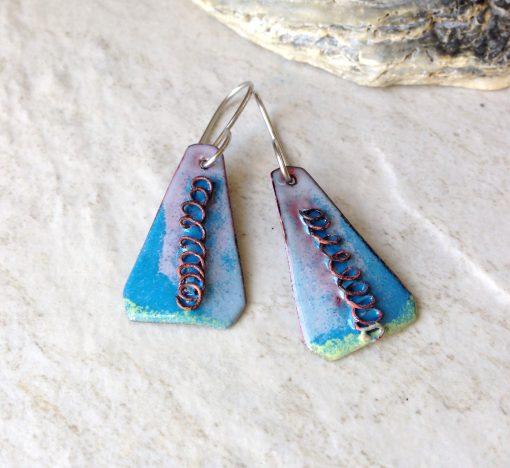 Blue Enamel Triangle Wire Swirl Earrings