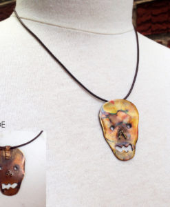 Copper Face Skull Flamed Necklace