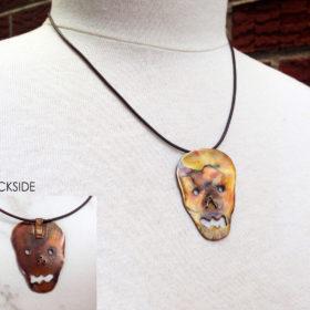 Copper Face Skull Flamed Necklace
