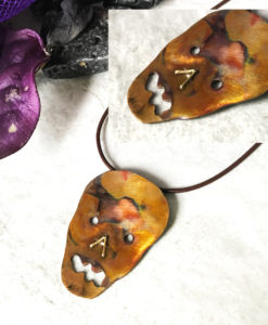Copper Face Flamed Skull Necklace