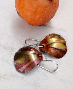 Copper Shell Earrings - Flamed copper earrings