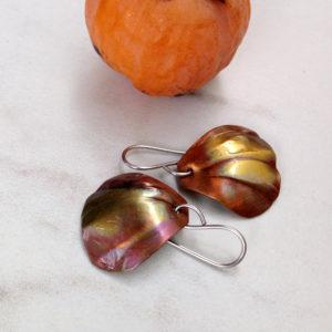 Copper Shell Earrings - Flamed copper earrings