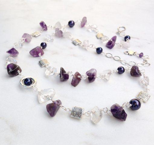 Long Purple Amethyst Bead Necklace