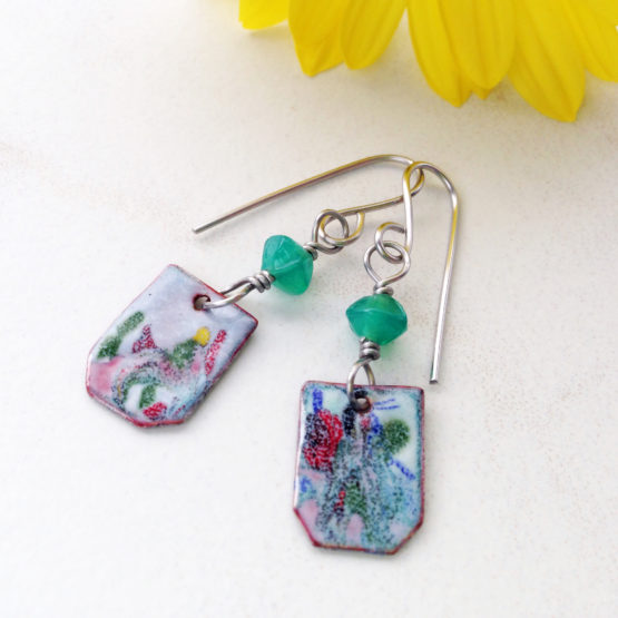 Painterly enamel earrings with bead dangle