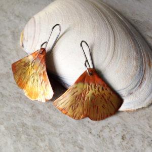 Copper Gingko Leaf Earrings