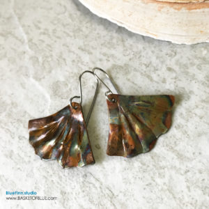 Ginkgo Leaf Earrings Mermaid tail Flame Painted Copper