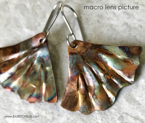 Ginkgo Leaf Earrings Mermaid tail Flame Painted Copper