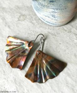 ginkgo leaf earrings mermaid tail earrings